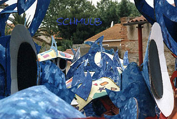 Blue cardboard dragon